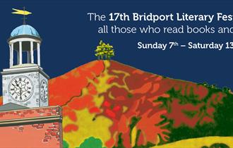 Logo for Bridport Literary Festival that appears on all our brochures which has an image of the town hall with the iconic Colmer's Hill in the backgro