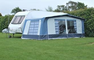 Caravan pitches at Home Farm Caravan and Campsite, Puncknowle in Dorset