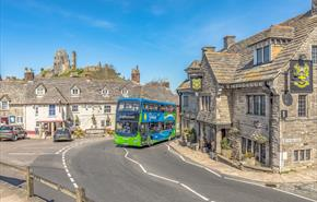 Purbeck Breezer number 40 bus in Corfe Castle village