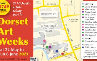 map of all the venues and studios open during Dorset Art Weeks on St Michael's Trading Estate, Bridport