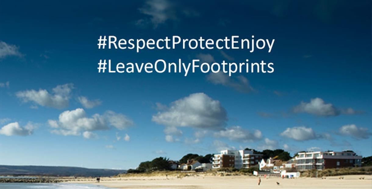 Sandbanks beach with message overlay: #RespectProtectEnjoy #LeaveOnlyFootprints
