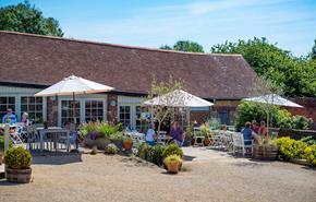 Outside seating at Symondsbury Kitchen, near Bridport, Dorset