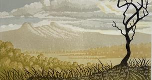 'Distant Hills' Lino Print by Steve Manning