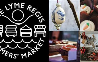The Lyme Regis Farmers' Market's black and white logo with four images of the different products you can expect to find there.
