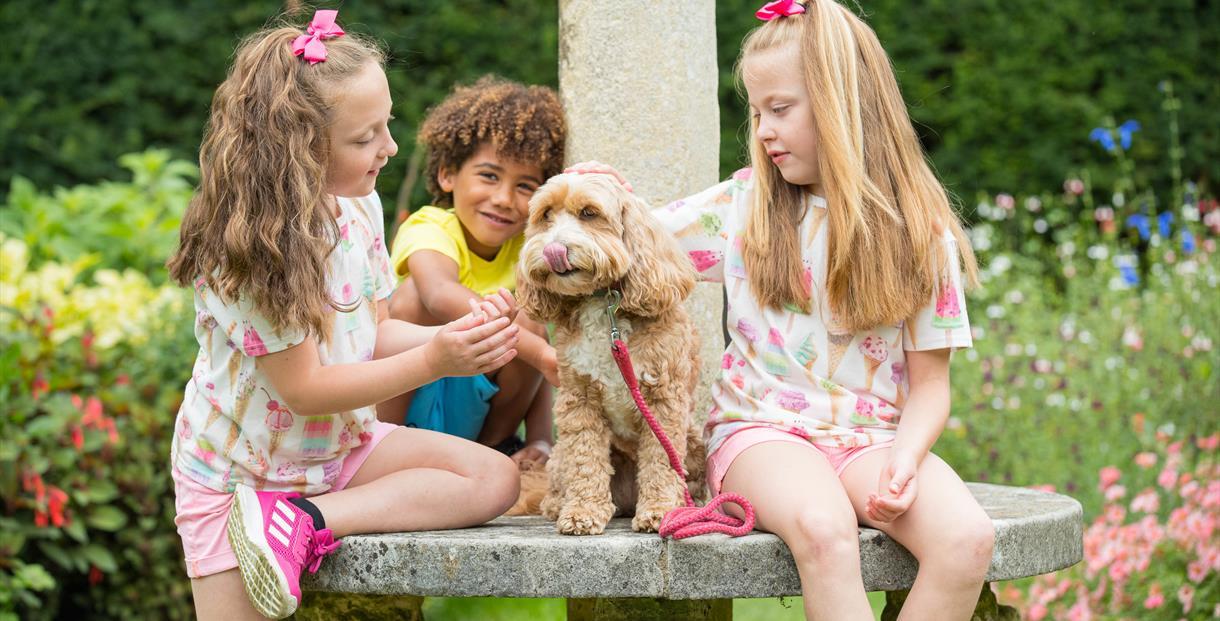 Children with dog in summer garden   Dog friendly attraction   Sundial Garden   Exbury Gardens   New Forest   Visit Dorset