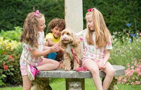 Children with dog in summer garden | Dog friendly attraction | Sundial Garden | Exbury Gardens | New Forest | Visit Dorset