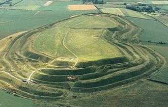Maiden Castle, an Iron age hill-fort near Dorchseter, Dorset