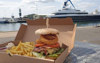 Oriel on the Quay - burger and chips to takeaway