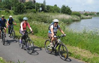 Cyclists at Radipole Lake, Weymouth in Dorset