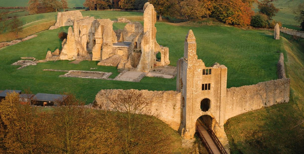 Sherborne Old Castle - Aerial view