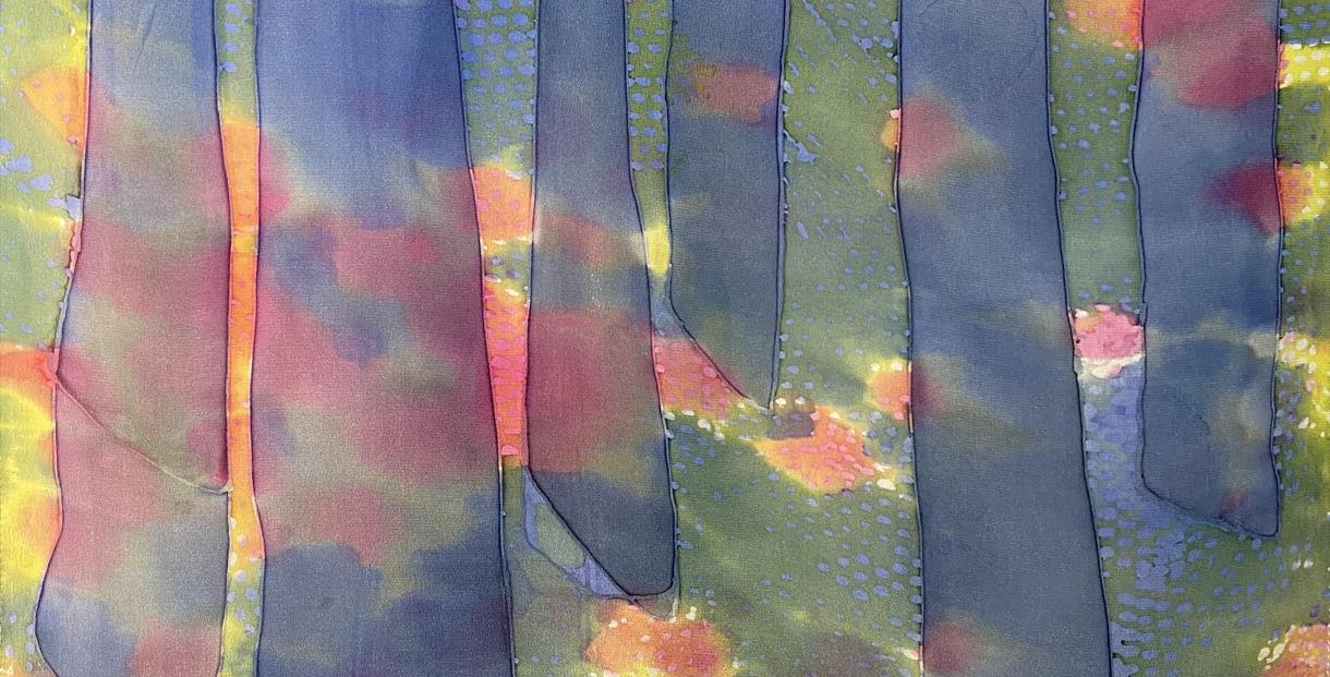 Carolyn Stewart's 'Spring In The Woods': Silk Dyes and Wax Resist