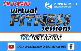 2riversmeet virtual gym with blue background and people doing fitness moves