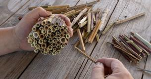 Person making a bug hotel out of reeds and twigs.