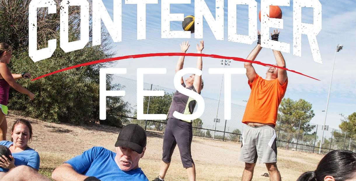 There Are a number of people working out in, with Contender Fest logo over the top