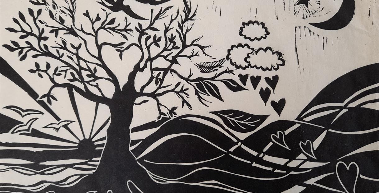 countryside lino cut, Julie Herring, Artist