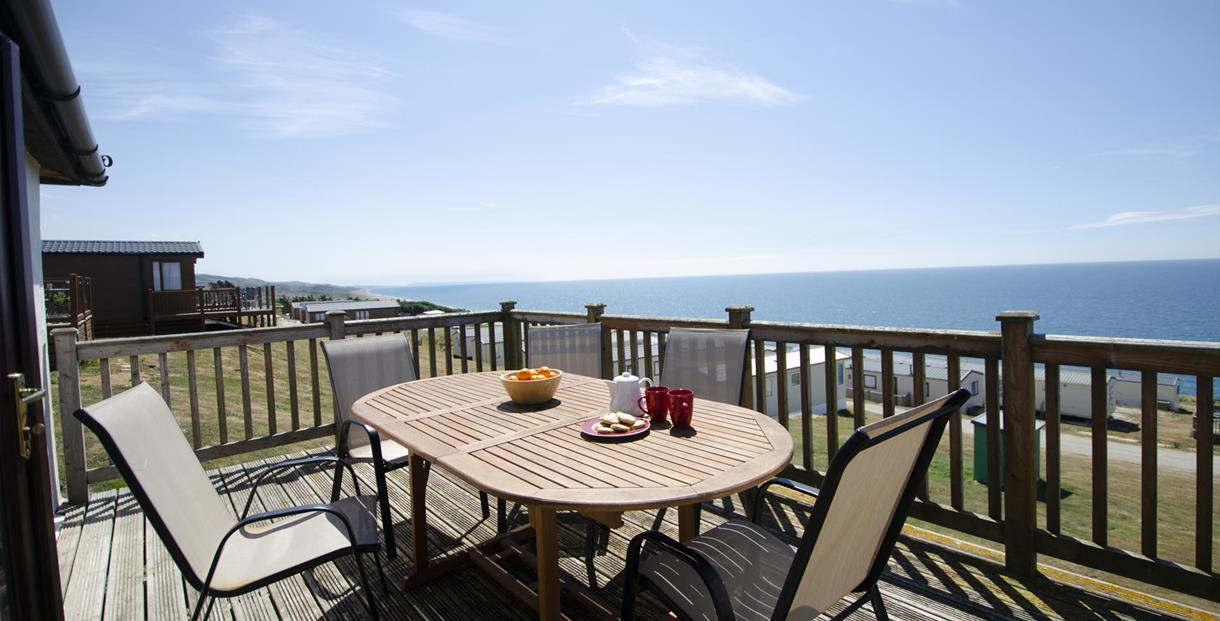 Sea views from the deck of Cogden Cottages