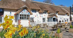Spring at The Castle Inn thatched pub and B&B in West Lulworth