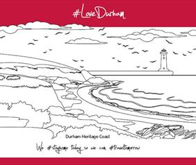Love Durham Coast Colouring in page