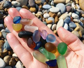 sea glass collected at Seaham