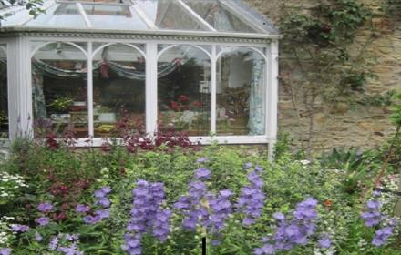 Ravensford Farm. Conservatory surrounded by a colourful garden brimming with flowers and shrubs.