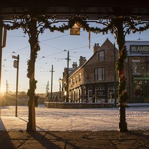 a street in the 1900's town in Beamish Museum