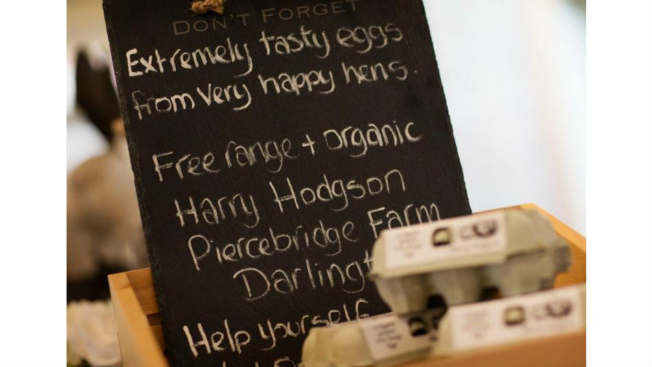 Locally sourced eggs at The Farm Shop Wynyard Hall Gardens