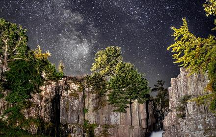 Image of the night sky, High Force waterfall, Milky Way, by Gary Lintern