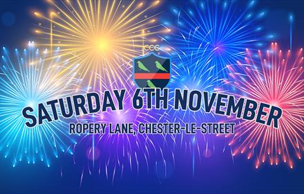 Chester le Street Cricket Club's Poster for their 2021 Fireworks Display (image of brightly coloured fireworks).