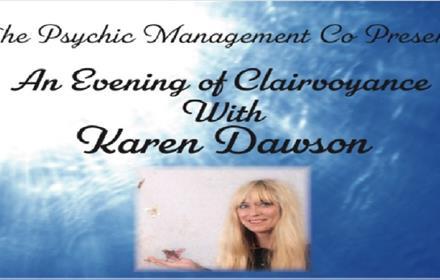 Poster advertising Karen Dawson's: An Evening of Clairvoyance.
