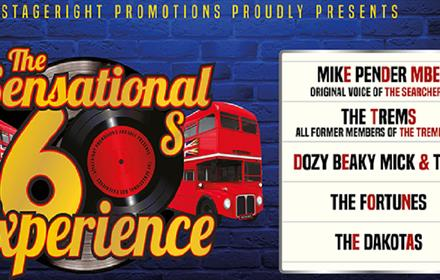 Poster for the Sesational Sixties Experience. Image of double decker buses and records.