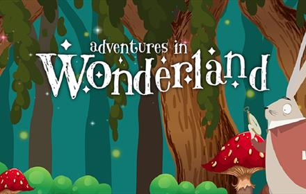 Adventures in Wonderland. Cartoon image. Trees, mushrooms, white rabbit