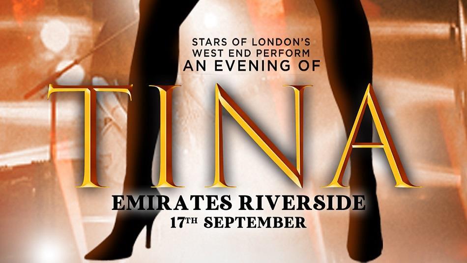 Tina Emirates Riverside advertising poster with wording - Tina, legs