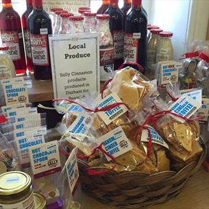 Sweet treats. Cinder Toffee, Marsh Mallows, Hot Chocolate, Ginger Wine