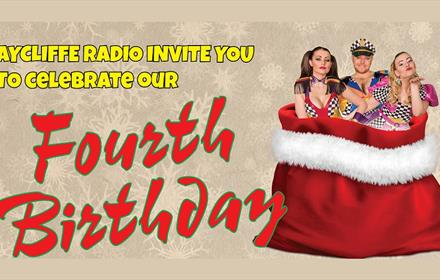 Wording - Aycliffe Radio invite you to celebrate our fourth birthday with image of three people standing in a Christmas sack, red with white fur trim
