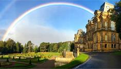 The Bowes Museum  Rainbow, Grounds, Blue Skies