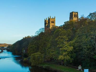 Durham Cathedral, trees river