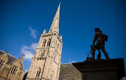 Statue of Neptune and St Nicholas' Church in Durham Market Place