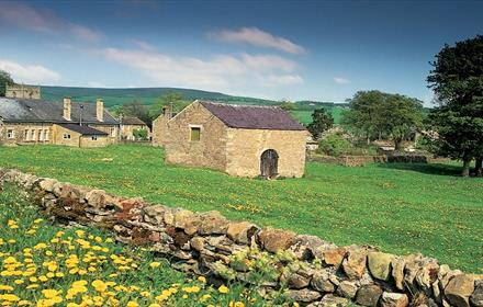 Teesdale landscape, stone barn, stone cottages