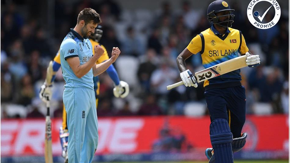 Three men playing cricket.  One England player, two Sri Lanka players