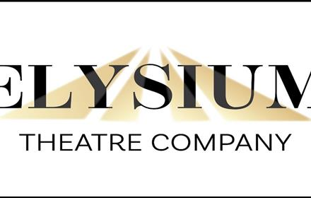Elysium Theatre Company logo, black writing on a white background