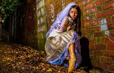 Ballerina in bridal clothing