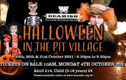 Halloween in the Pit Village. Poster of creepy clowns and spooky characters.