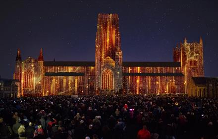 In Our Hearts Blind Hope, Palma Studio. Rendering courtesy of the artist. Flaming Image of Durham Cathedral