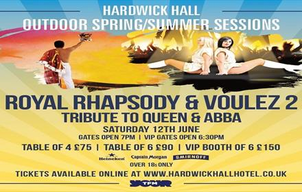 Poster displaying Queen and Abba event details at Hardwick Hall