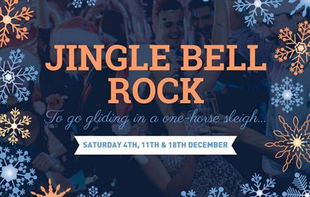 Jingle Bell Rock advertising poster. Coloured snowflakes and stars