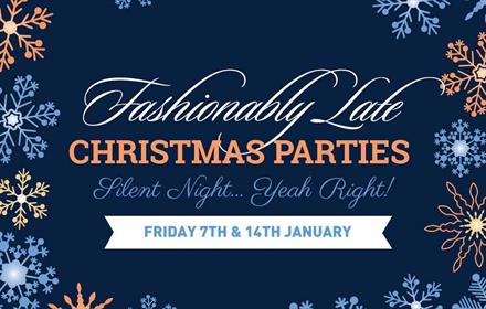 Fashionably late Christmas Parties, snowflakes, stars, blue background