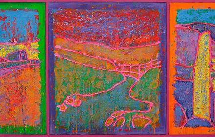 Simon Pell's 2020 vision – lockdown paintings. Vibrant/abstract image of a countryside landscape