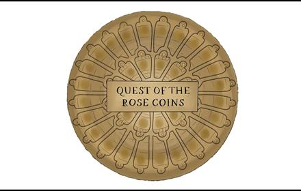 image of a coin with wording Quest of the Rose Coins