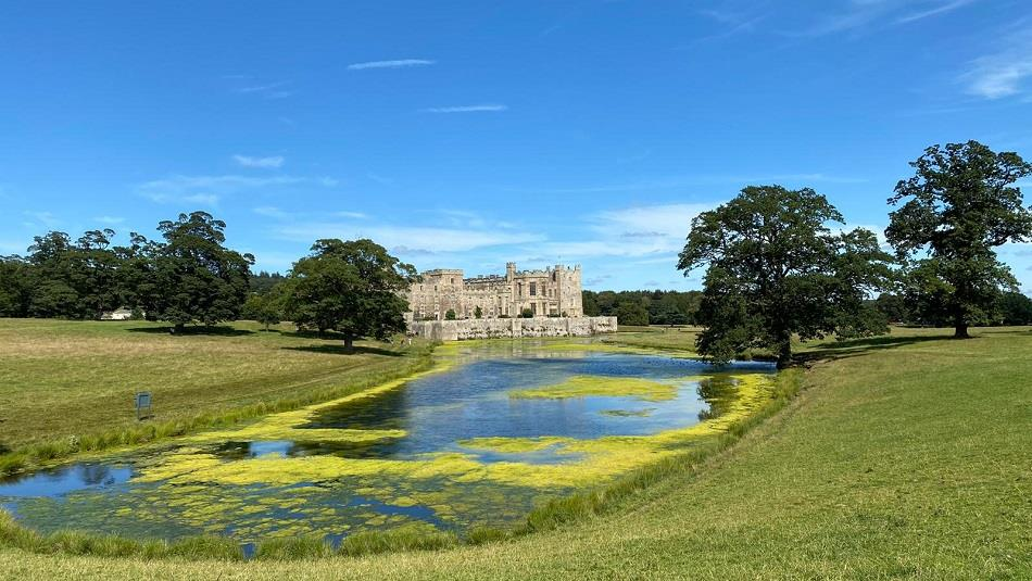Raby Castle image showing their grounds and lake