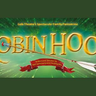 Poster with the wording Robin Hood written in gold on a green background